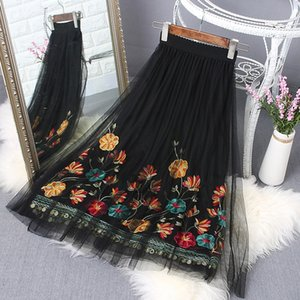 Wholesale Yilin Kay Summer Elastic Waist Flower Embroidery Gauze Skirt sexy Elegant Black White Floral Embroidered Skirts C190416