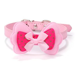 Wholesale New Cute Polka Dots Bow Pet Dog Collar Leather Pet Choker Puppy Cat Necklace Tie