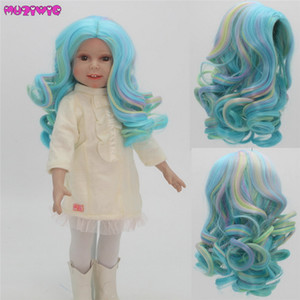 Doll Hair High Temperature Fiber Curly Mixed Color Wigs for 18 inch American Dolls
