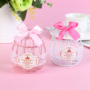Wedding Favor and Gifts Candy Box European Creative Iron Romantic Bird Cage Candy Box Cute Ribbon Metal Gift Box Wedding Decor