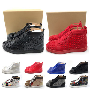Wholesale 2019 luxury men women Ladys gils Party Prom Gorgeous high Casual shoes black blue Bottom Studded Spikes designer brand women sneakers