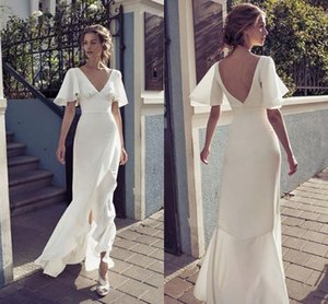 2020 Bohemian Under 100 Wedding Dresses V neck Juliet Short Sleeves V Backless Ruched Cheap Wedding Reception Dress Bridal Gowns Cheap on Sale