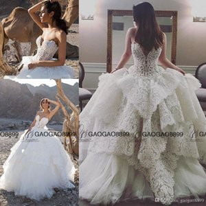 Wholesale puffy church dresses resale online - Strapless Lace Ball Gown with Pearl Beaded Bodice Pnina Tornai Wedding Gown puffy Skirt Church Train Plus Size Wedding Dress