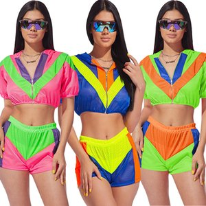 Wholesale Women piece shorts set cardigan hooded short cap sleeve crop top panelled shirt bodycon leggings shorts sexy summer clothing plus size
