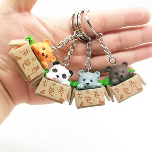 Wholesale Colorful Creative Personality Cute Little Bear Box Keychain For Women Men Kawaii Keychain Fashion Letter Cute Jewelry