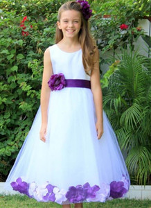 Wholesale tulle rose petals for sale - Group buy Wedding Pageant gown Floral Rose Petals White Kids Formal Wear Flower Girl Dress Graduation Tulle First Communion Dresses