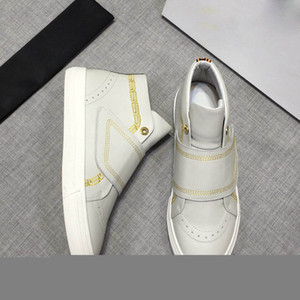 Wholesale 2019 HOT Italy Casual Shoes for Men high Top Flat Genuine Leather Men Shoes Designers Sneakers Trainers Basketball shoes