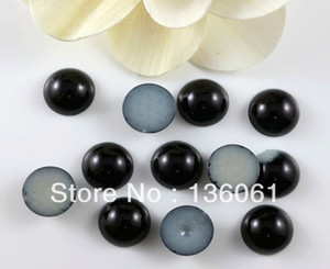 Wholesale 100pcs Vintage Black Acrylic Imitation Pearl Round Half face For Jewelry Making Craft Charms Beads DIY Jewelry Findings Z2440