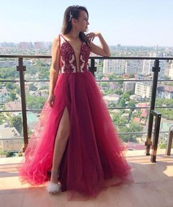 Wholesale Illusion Luxury Evening Dresses sexy split red lace elegant evening formal dresses 2019 cheap tulle Prom Gowns long special occasion wear