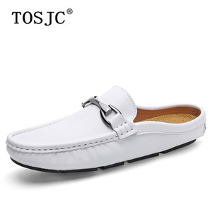 Wholesale TOSJC Fashion Men Half Loafers Breathable Slip on Mules Lightweight Slippers Buckle Anti slip Drag Shoes Man Soft Driving Shoes