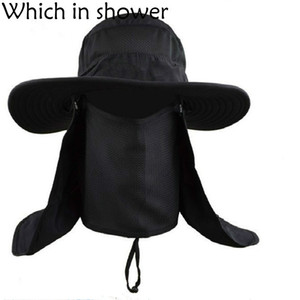 Wholesale Whichinshower Wide Large Brim Sun Block Fishing Hat Face Neck Protection Summer Sun Cap Mountain Climbing Bucket Hat With String