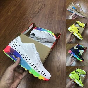Wholesale 2019 Designer KPU s White Black Rainbow Mens Running Shoes Utility Lemon yellow Green Fashion Luxury Men Flats Trainers Sports Sneakers