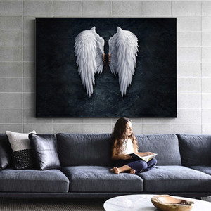 Wholesale Anime Angel Wings Wall Art Canvas Prints Angel Feather Ground Wings Creative Paintings On The Wall Picture For Living Room Decor