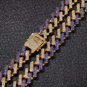 15mm Strip Cuban Chain Miami Hip-Hop Necklace Imitated with Golden Diamond Hip hop for Men Jewelry Necklaces
