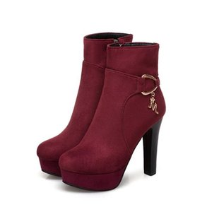 Small big size 32 33 34 to 40 41 42 43 fashion women winter ankle bootie sexy thick high heels burgundy blue black