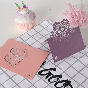 Wholesale 50Pcs New Number Name Seat Card Vintage Table Butterfly Reception Table Wedding Birthday Laser Cut Heart Place Cards Party Decor