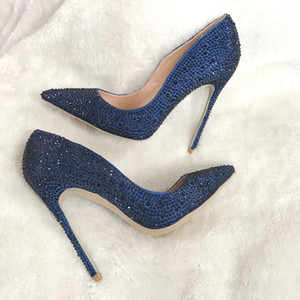 Wholesale navy evening shoes resale online - real pic dark blue navy crystal rhinestone pointed toe hot sale women lady evening party high heel shoes pumps