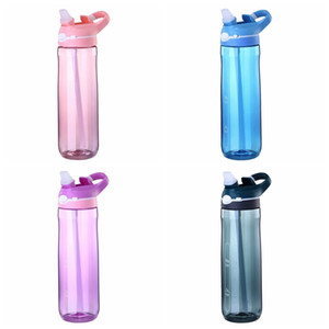 Wholesale food straw resale online - 750ml oz Sport Water Bottle With Straw Food Grade Plastic Leakproof Bottles Large Capacity Outdoor Sport Travel Camping Bottle DBC DH1128