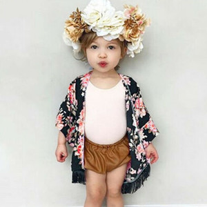 Wholesale Summer Kids Cardigan Jackets For Girls Toddler Child Girl Thin Floral Tassel Cardigan Sunsuit Cover Kimono Long Sleeve Clothing