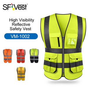 Wholesale High Visibility Reflective Safety Vest Reflective Vest Multi Pockets Workwear Security Working Clothes Day Night Cycling Warning T190622