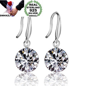 Wholesale OMHXZJ Wholesale Personality Fashion OL Woman Girl Party Wedding 6 Colors Round Zircon 925 Sterling Silver Earrings YE284
