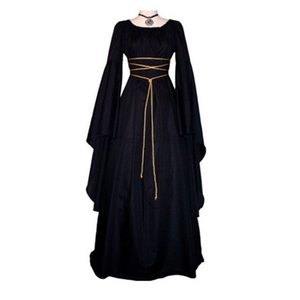 Wholesale Medieval Women s Solid Vintage Victorian Gothic Dress Renaissance Maiden Dresses Retro Long Gown Cosplay Costume For Halloween