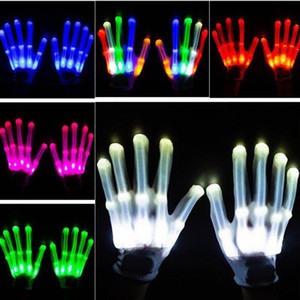 Pair of Colorful LED Gloves Rave Light Finger Lighting Unisex skeleton Glove