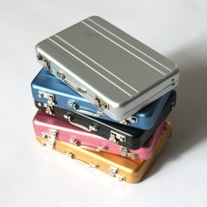 Wholesale Creative Password Safe box Aluminum card Holder mini suitcase Business Card Box Birthday Gift for Father Friend