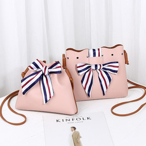 Wholesale Hot style college shoulder bag silk scarf bucket bow crossbody bag for women girls