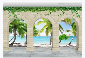 Wholesale beach wallpaper for walls resale online - Customized d mural wallpaper photo wall paper Stone arches beach sea view d living room TV sofa background mural wallpaper for walls d