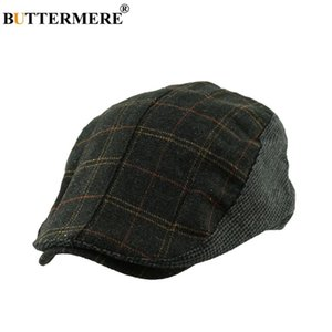 Wholesale BUTTERMERE Flat Beret Cap Plaid Men Woolen Classic Casual Duckbill Hat Female Driver Hat British Style Winter Spring Fashionable
