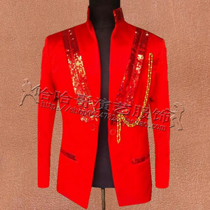 Wholesale Red men sequins suits designs masculino homme terno stage costumes for singers jacket men blazer dance star style dress punk