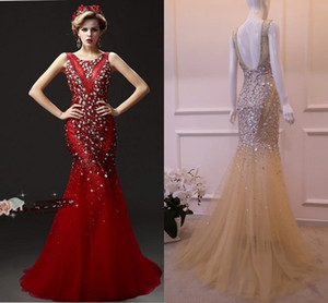 Wholesale Luxury Mermaid Evening Dresses Heavy Manual Nail Bead Prom Dresses Red Champagne New Diamond Long Party Prom Dresses