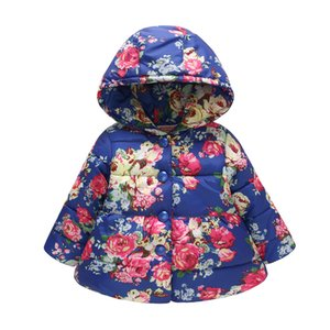 Wholesale Girls Jacket Autumn Winter Floral Butterfly Print Warm Hooded Button Coats Baby Girl Outerwear Children Clothing LE422
