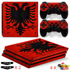 Ps4 Pro Sticker Albania Flag Decal Cover PS4 Pro Skin for PS4 Pro Console and 2 Controllers (include 2 Led Sticker and 4 Random Color)