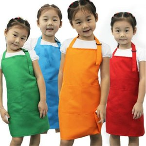Wholesale 2019 Newest Hot Chlidren Plain Apron Front Pocket Bib Kitchen Cooking Craft Baking Art Kids Cleaning Accessories