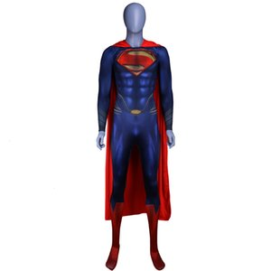 Wholesale Men Boys Superman Man of Steel Cosplay Costumes Tights Jumpsuits Superhero Event Halloween Superman Costumes Zentai Suit CloakMX190923