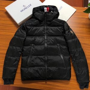 Wholesale new Designer Winter Men s MONC Black down jacket Zip Warm Thick High quality Hoodie Casual Loose Mens Jacket Coat high quality jackets