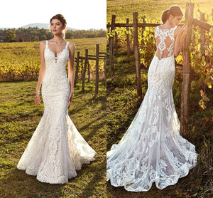 Wholesale full back wedding dresses resale online - 2019 Elegant Ivory Straps Deep V Neck Lace Mermaid Wedding Dresses Full Lace Tulle Summer Beach Wedding Bridal Gowns Illusion Back