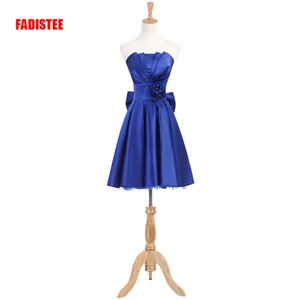 Wholesale New arrival Cocktail Party dresses prom flowers short dress strapless classic flowers pleat satin big bow dress