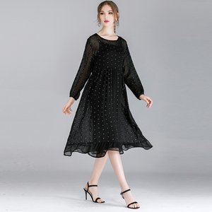 Wholesale Fat mm large size women s autumn new loose fashion silver point chiffon dress two piece F240