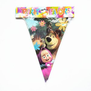 Wholesale 10pcs M Party Flag Masha Bear Flags Cartoon Theme Pennats Baby Shower Party Banner Kid Boy Birthday Supplier