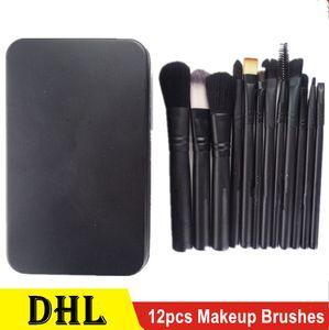 12pcs-M &AC Makeup Brushes Sets Foundation Make Up pinceaux à Brush Set brocha de maquillaje Kit DHL Shipping