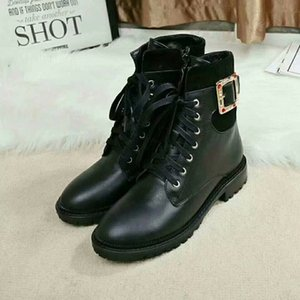 Brand Women Cow leather Short Boots fashion Czech rhinestone Western Desert Tooling Boots Winter Ankle Martin Boots Winter Snow Boots,35-42