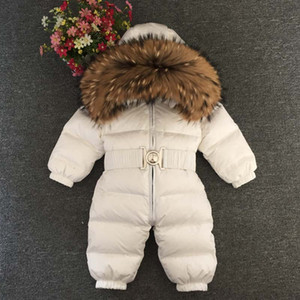 Wholesale Baby Down Jumpsuit Boy Fur Coat Winter Girl Down Romper Girls Bodysuit Kids Jackets Natural Fur Belt