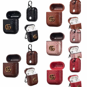 Wholesale For Airpods Fashion AirPods Earphone Protector Case Designer Leather Protection Cover Hook Clasp Earbuds Hard Housing