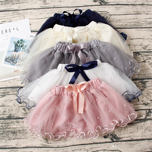 Wholesale INS Stylish Little Girls Tutu Skirt Princess Gauzy Skirt Pearl Bow Designs Mini Lovely Children Girls Ruffles Party Dresses Children Clothes
