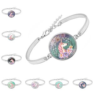 Wholesale Unicorn Time Gem Charm Bracelet Memorial Gift for Women Alloy Glass Charm Bracelets on Sale