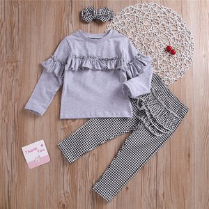 Wholesale Girl kids clothes Set Long sleeved round necked Top Black white checked trousers bow Headband pieces sets kids designer clothes girls JY581