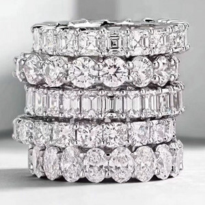 anéis de diamante da banda venda por atacado-Choucong Jóias Da Moda Do Vintage Real Prata Esterlina Princesa Branca Topázio CZ Diamante Eternidade Mulheres Wedding Engagement Banda Anel Presente